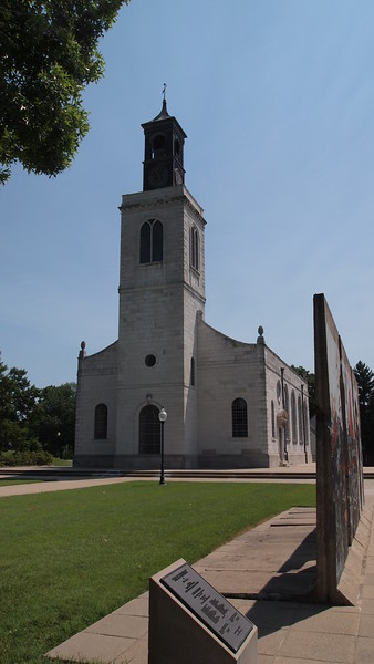 """Westminster College, Fulton, Missouri, where Winston Churchill coined the term """"Iron Curtain"""" in 1946<br /> <br /> Church of St. Mary the Virgin, Aldermanbury  Built around the late 11th Century, it burned in 1666 in the fire of London. It was rebuilt in 1667 with the guidance of Christopher Wren. It was gutted in the Blitz of 1940 leaving only the walls standing. In 1965 it was dismantled and shipped to Fulton, Mo. and rebuilt as part of the Winston Churchill Museum.<br /> <br /> Sections of the Berlin Wall are outside of the museum."""