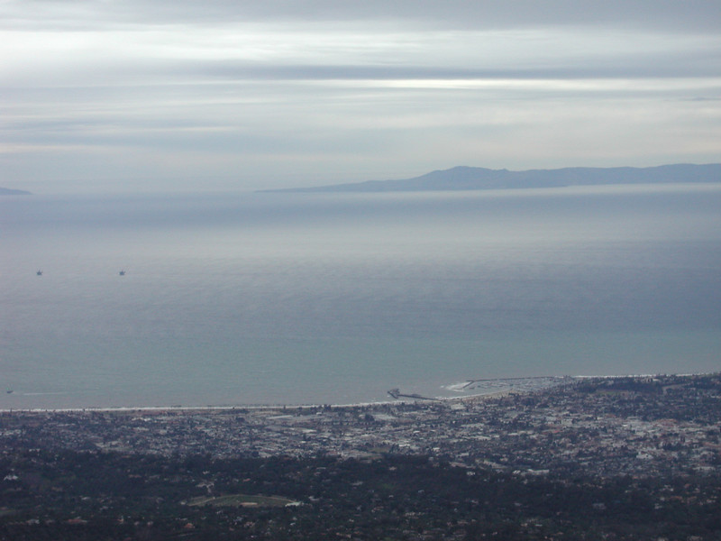 Downtown Santa Barbara and harbor from East Camino Cielo