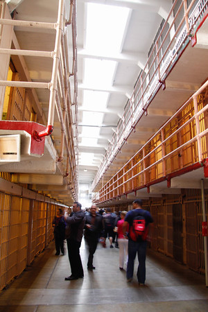 Inside view of one of the cell blocks at Alcatraz.