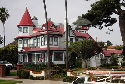 A 'small' house on Coronado Island that was moved there across the bay from San Diego by barge and truck.