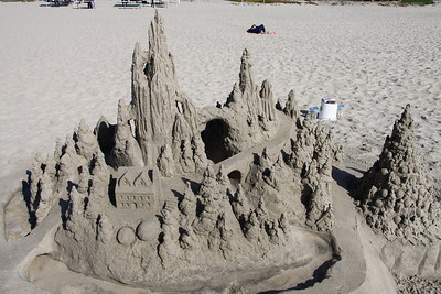 It only took us a few minutes to build this sandcastle in front of the Hotel Del Coronado.    Not really, it took the person about 8 hours to do this.