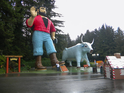 At the Trees of Mystery with Paul Bunyan and Blue.