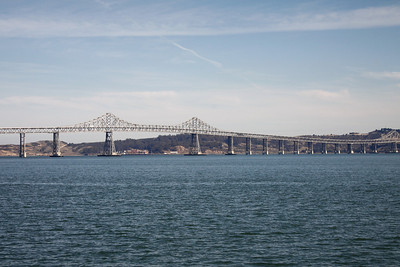 The 8.9 km San Rafael bridge from Larkspur to Oakland taken from the ferry.