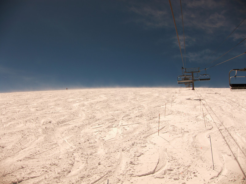 Looking up towards the highest point on the ski resort - windswept and deserted