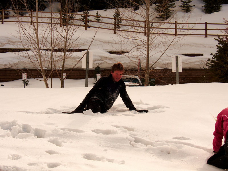 Tyler stuck playing in the soft snow in the village