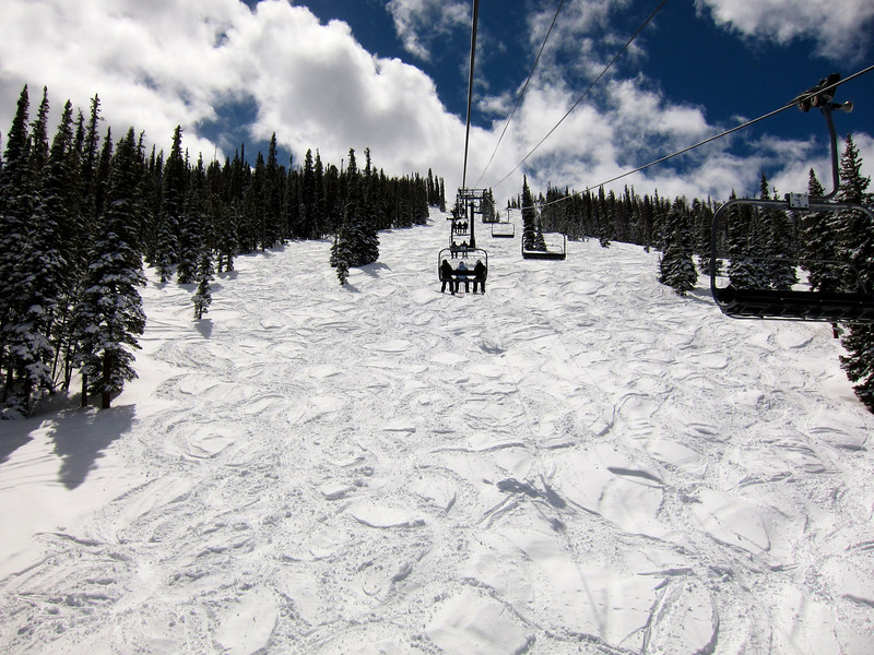 Cut up snow under one of the chairlifts