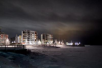 Kemi by the sea at winternight