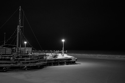 By the sea by the night black and white