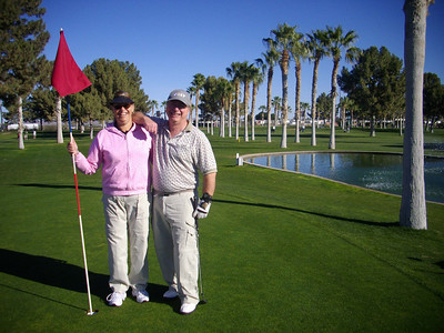 Good looking golfers at the Westwinds golf course in Yuma, Arizona.   Jan, 2011.