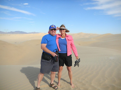 Trying to stay standing during a wind storm at the sand dunes in California - about 15 miles west of Yuma.  Jan, 2011.