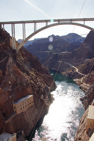 The new bridge (opened Nov, 2010) that allows traffic to flow bypassing the Hoover Dam.  Dec, 2010.