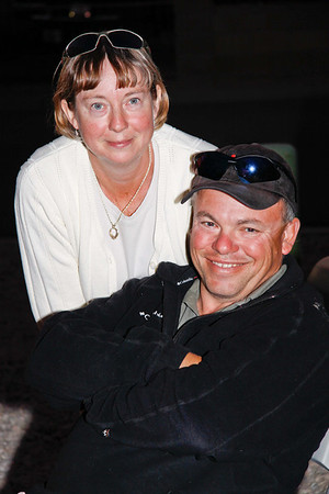 Helen and Tony from Okotoks, Alberta enjoying happy hour at Marie & Ralph's trailer in Yuma.   Jan, 2011.