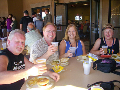 Enjoying another burger bash at the Palms RV resort in Yuma, Arizona.   Jan, 2011.