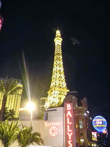 Night photo of the Eiffel Tower at the Paris Hotel on the Las Vegas strip.  Dec, 2010.