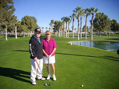 Marie and Ralph at the Westwinds golf course in Yuma, Arizona.   Jan, 2011.