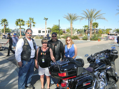 Carol and Marie with some new 'friends' at the Harley burger bash at the Palms RV resort in Yuma.   Jan, 2011.