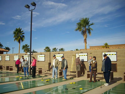 Shuffleboard at the Palms RV resort in Yuma, Arizona.   Jan, 2011.