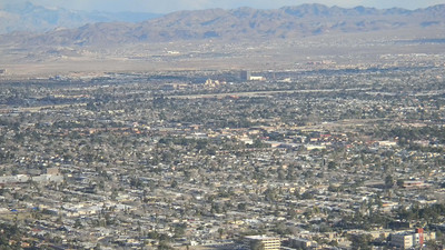 Photo of Las Vegas looking West from the top of the Stratosphere on the Las Vegas strip.  Sam's Town (where we stayed can be seen in the middle of the photo).  Dec, 2010
