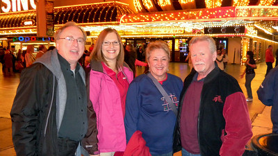 Enjoying the downtown Las Vegas 'Freemont Experience' with Marie and Ralph.   Dec, 2010.