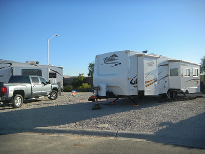 Our truck and trailer at our spot at the Palms RV resort in Yuma.   Jan, 2011.