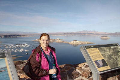 Carol in front of Lake Mead near the Hoover Dam.   Dec, 2010.