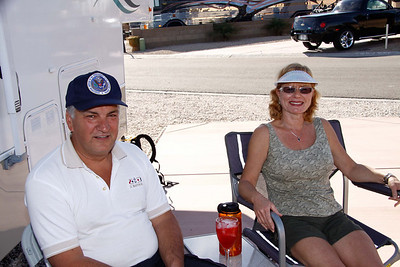 Suzanne and Dan from Ottawa enjoying happy hour at Marie & Ralph's trailer in Yuma.   Jan, 2011.