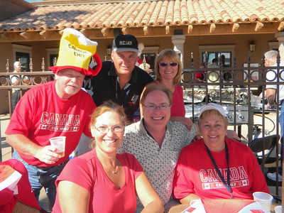 With Marie & Ralph and Suzanne and Dan from Ottawa during the Canada day burger bash at the Palms RV resort in Yuma, Arizona.   Jan, 2011.