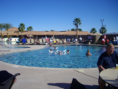 Part of the pool area at the Palms RV resort in Yuma, Arizona.   Jan, 2011