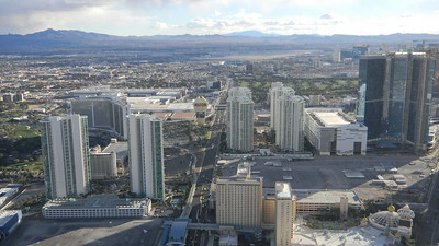 Photo of Las Vegas strip hotels from the top of the Stratosphere on the Las Vegas strip.  Dec, 2010