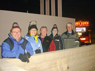 The gang including other friends Linda and John watching New Year's Eve fireworks from the top of one of the parking garages at Sam's Town in Las Vegas.   Dec, 2010.