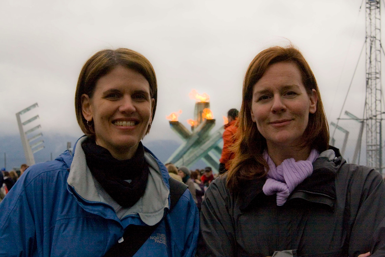 Kim, Katey & the Olympic flame.
