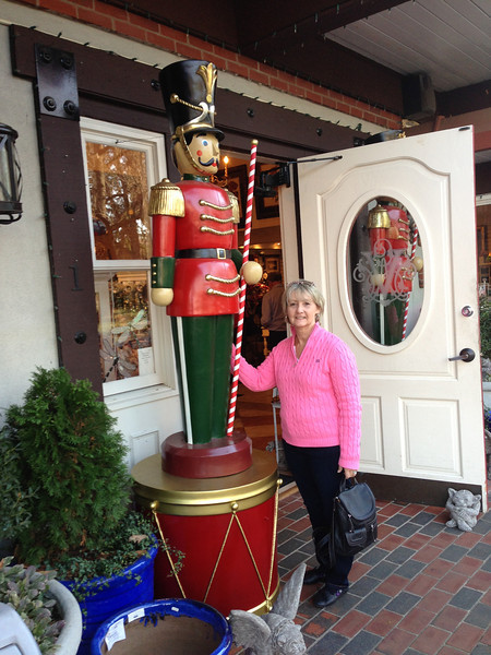 Raye finally found the little nutcracker for our front porch!