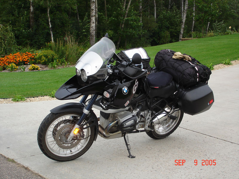 The BMW GS--my trusty steed loaded up and chompin' at the bit. It rarely looks this clean.