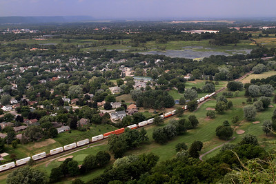A long freight train heads south along the valley floor. Wisconsin Trail readers voted the view from the bluff as the second most scenic in the state.