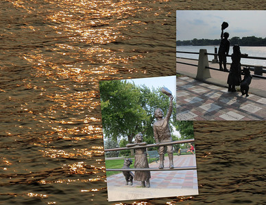 "Set along the levee on the bank of the Mississippi River, ""A Simpler Time"" is a sculpture by local artist Mike Martino.  The life-size sculpture is surrounded by a plaza of inlay bricks inscribed with the names of contributors. Located in Riverside Park."