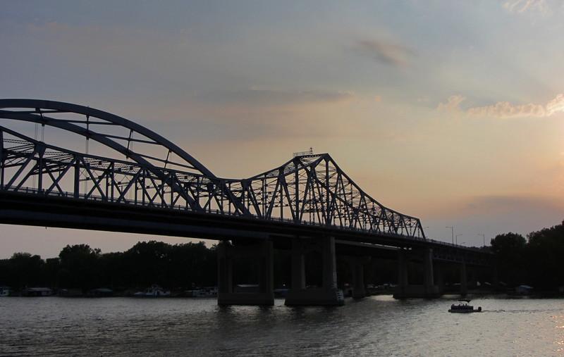"The Mississippi River Bridge aka the ""Big Blue Bridges"" at dusk."