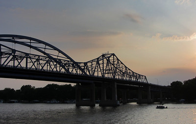 "The Mississippi River Bridge aka the ""Big Blue Bridges"" at dusk."