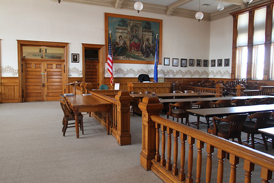Although this stately courtroom on the top floor is no longer used for court cases, it often is the site of wedding, county board and other meetings and is also used as a welcoming point for group tours.