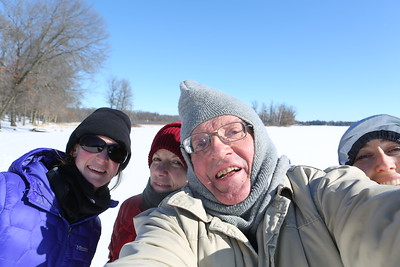 Lake Pulaski, WI selfie...the only winter explorers on the entire lake