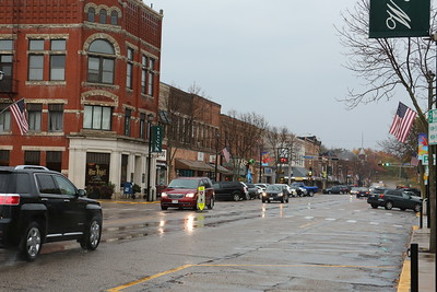 Rainy day Downtown Waupaca, Wisconsin