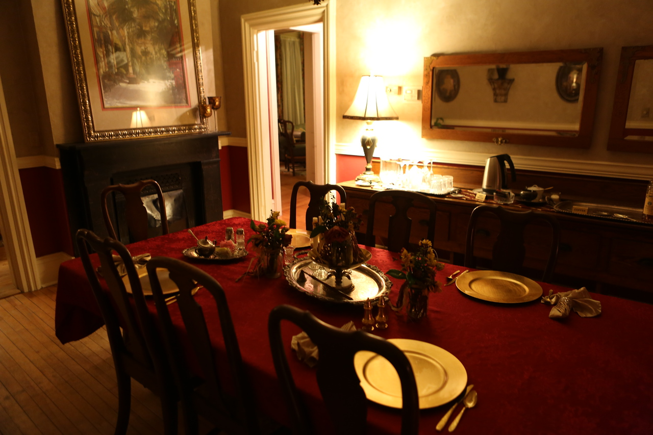 Dining room at the Apple Tree Lane B & B at night - ready for the following day