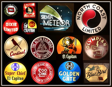 Historic Train Logos:  Photographed Collage