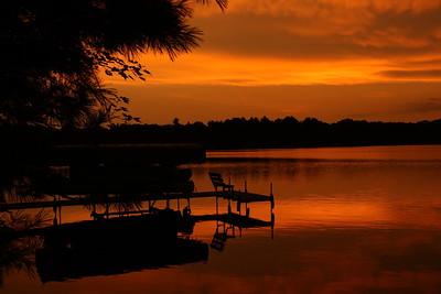 Beautiful, rich sunset view on Lake Pulaski, Rusk County