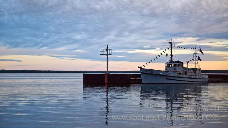 ship, boat, harbor, Bayfield, ferry, Madeline, Island, sunset