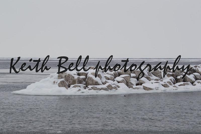 Frozen Lake Michigan Washington Island Door County in Winter