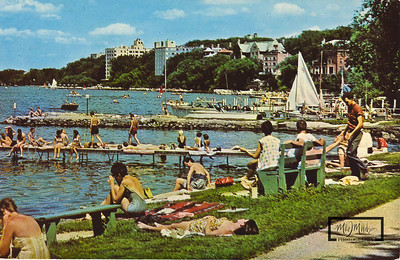 University of Wisconsin Memorial Union Terrace, Swimming Pier, and Rescue 62 sitting at the Boathouse Pier.