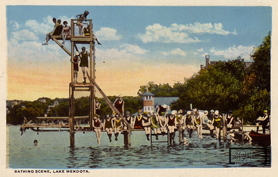 Swimming Pier on Lake Mendota with Boathouse in the background.