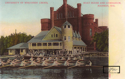 The University of Wisconsin Boathouse, and Lifesaving Station in front of the Red Gym.