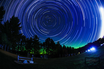 Camp Jorn Star Trails with Northern Lights near Kybo & Flickerball Field© Copyright m2 Photography - Michael J. Mikkelson 2012. All Rights Reserved. Images and/or video can not be used without permission.