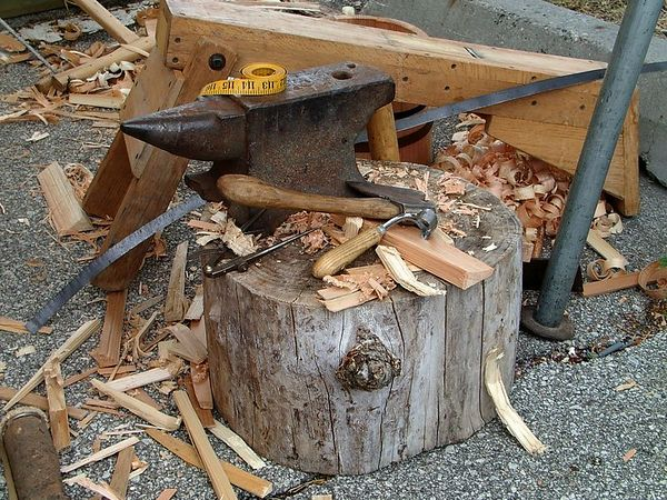<br><br><font size=3>The cooper was on break.  These are the tools he uses for making barrels and buckets.</font>